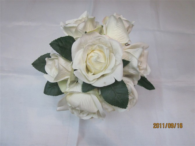 WHITE*IVORY Rose Hydrangea SILK WEDDING BRIDAL Bling BROOCH Bouquet