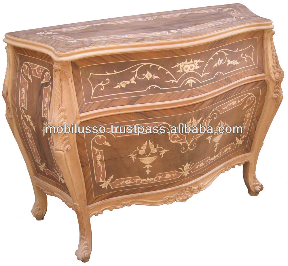 Louis Xv Marquetry Bombe Chest - French Antique Bombe Chest