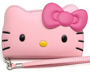 iPhone 6s Plus(5.5 inches) Case, Hello Kitty 3D Wallet Case iPhone 6 Plus 5.5 Screen Protector-Baby Pink