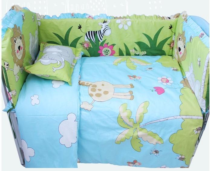 Promotion 7pcs Baby Bedding Set For Cot and Crib Baby Cradle Kit bumper duvet matress pillow