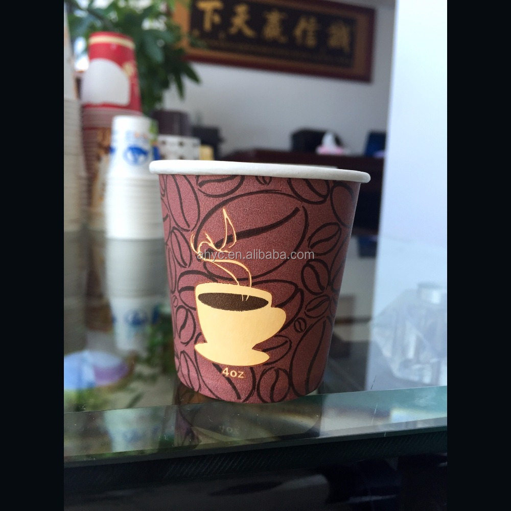 4oz logo printed disposable paper coffee cup/tea cup