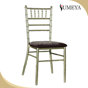 Hot sale stacking aluminum tiffany hotel gold chair chiavari banquet chairs with cushion