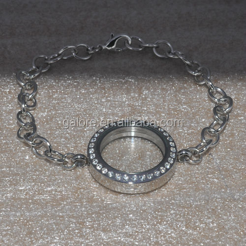wholesale <strong>fashion</strong> 25mm diameter silver floating locket bracelets