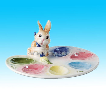 Painting Eggs Easter Egg Tray Plates