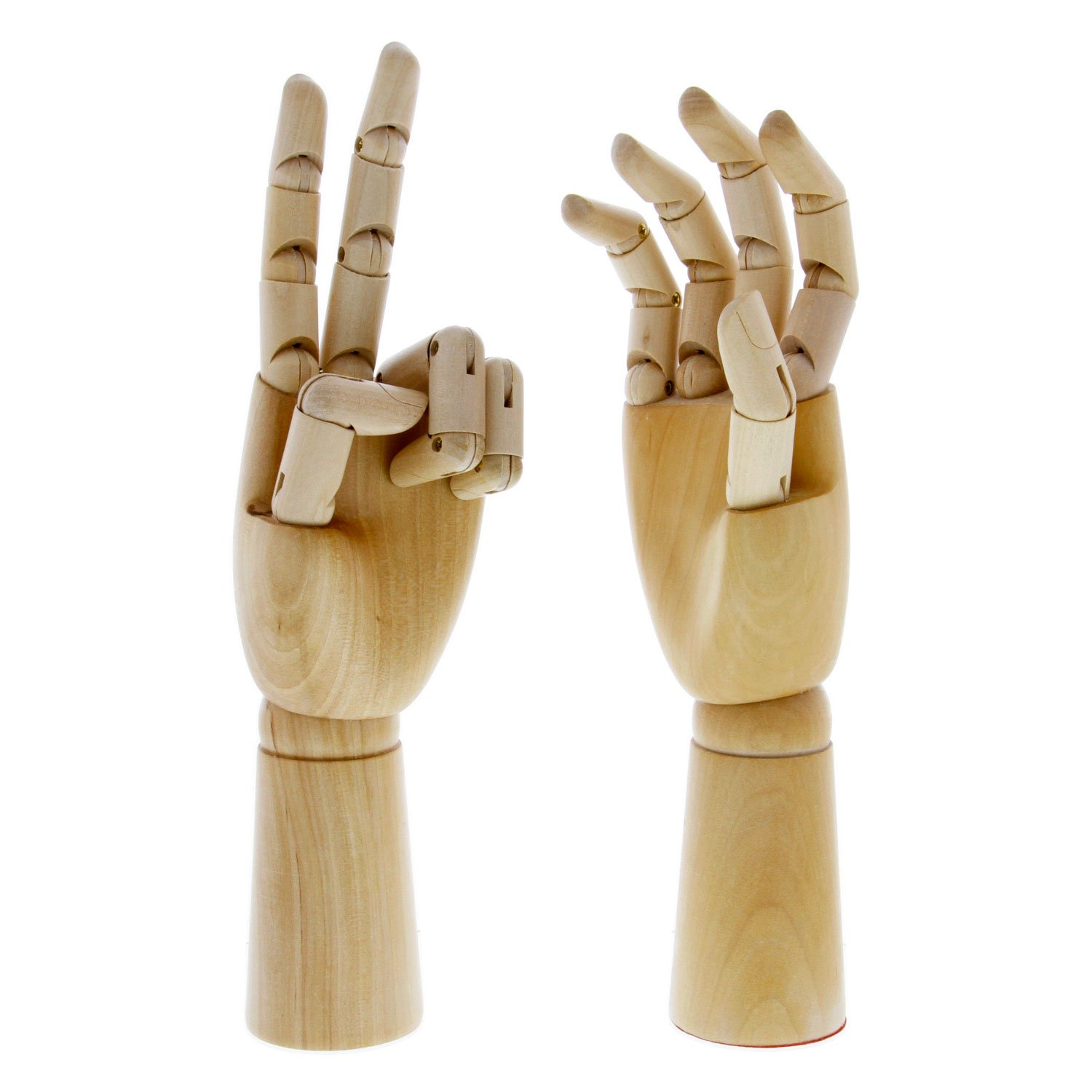 """US Art Supply Pair of 12"""" Left & 12"""" Right Hands Wood Artist Drawing Manikin Articulated Mannequin with Wooden Flexible Fingers - Perfect for drawing the human hand (12"""" Pair of Left & Right)"""