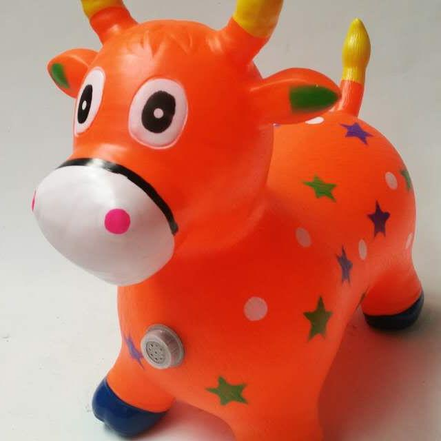 Inflatable Colorful Drawing Jumpy Bull with Music for Kids