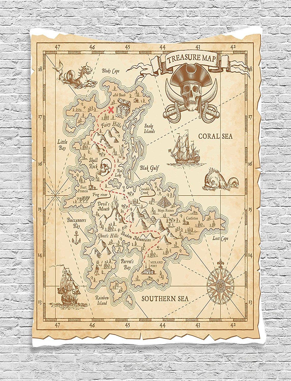XHFITCLtd Ocean Island Decor Tapestry, Old Ancient Antique Treasure Map With Details Retro Color Adventure Sailing Pirate Print, Bedroom Living Room Dorm Decor, 40 W x 60 L Inches, Cream