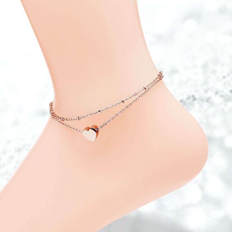 Simple Heart Wedding Anklet For Women Stainless Steel Jewelry фото