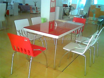 Back Painted Tempered Glass Table Top With Red Color