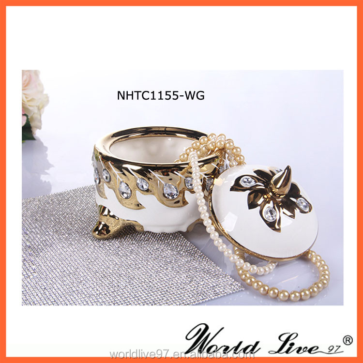 NHTC1155-WG Handmade Precious Ceramic Craft Jewellery Box