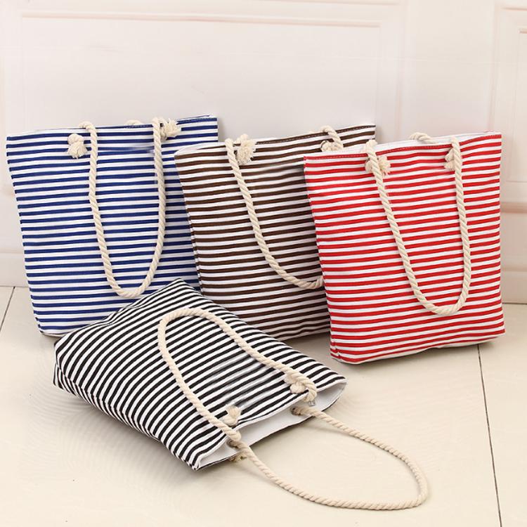 Bolso de mano de lona de algodón con estampado a rayas, tamaño estándar, personalizado, con asas de cuero de cuerda