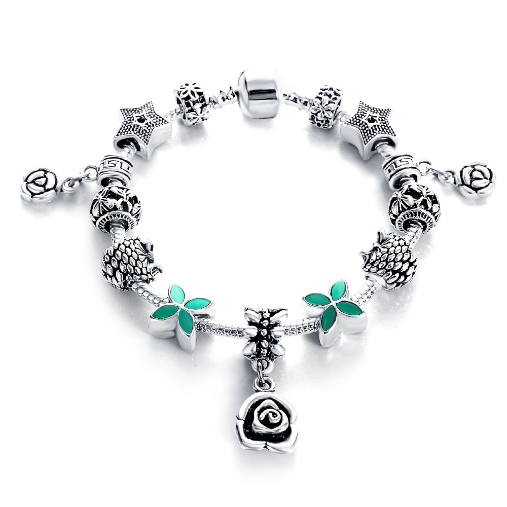 2018 Jewellery European Style Charm Bracelets For Women Antique Silver Multi Design Metal Bead DIY Jewelry Pulseras PCBR0142
