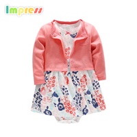 Wholesale baby clothes baby cotton top with dress baby bodysuit dress design