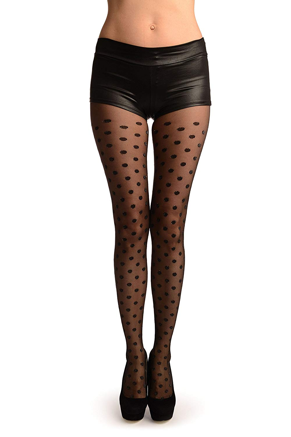 3eed4904ce8 Get Quotations · Black With Medium Shiny Woven Polka Dot Tights - Pantyhose  (Tights)