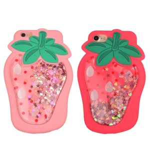 Protection Glitter Liquid Floating Stars Pink Cute Strawberry mobile phone Case for iPhone 6 7 Plus