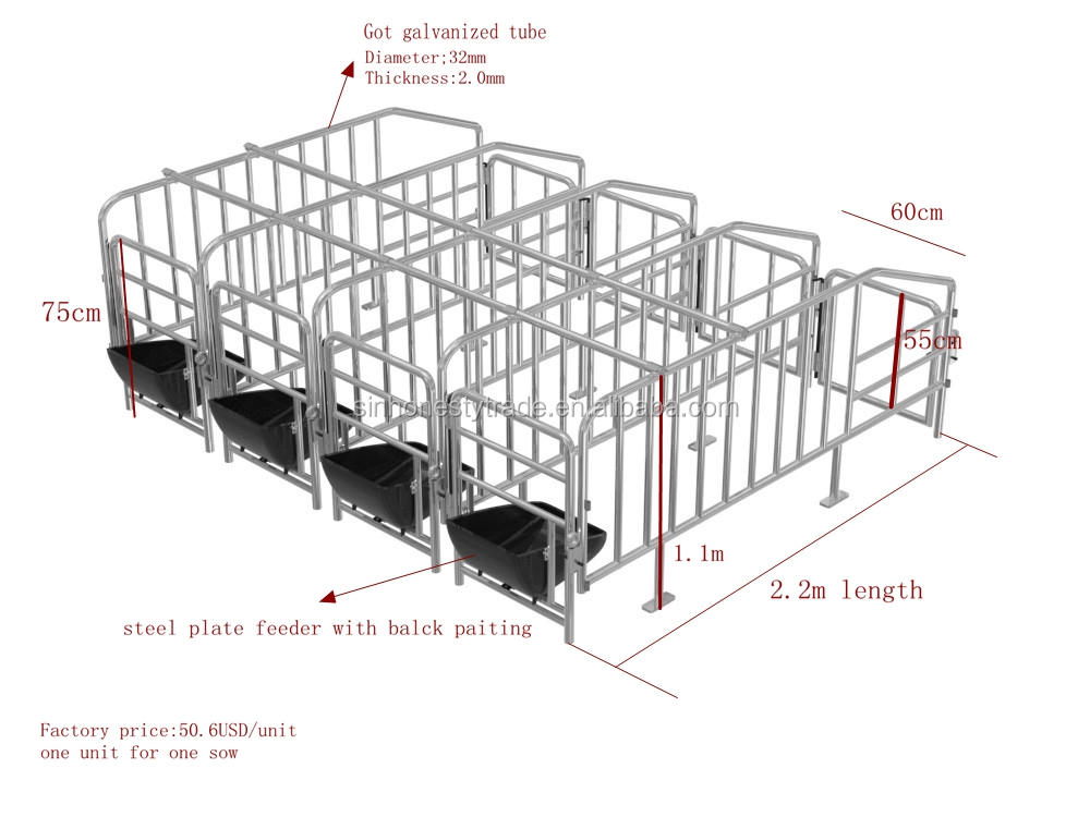 Pregnant pig gestation crates in animal cage for sale