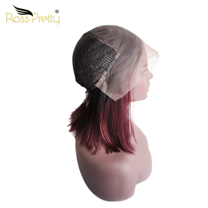 Ross Pretty 10 Inch Free Sample Cuticle Aligned Human Hair 1b 99j Ombre 13x6 Kim K Lace Front Jewish Wig