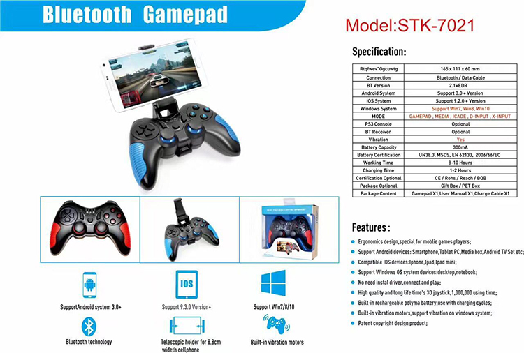 Oem Bluetooth Game Controller For Android/ios/pc/ps3 Mobile Games Stk-7021x  - Buy Cheap Game Controller,Wireless Game Controller For Ps2 Ps3 Pc,Ps3