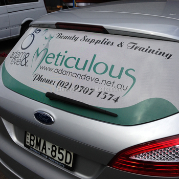 Perforated window advertising screen one way vision car window stickers