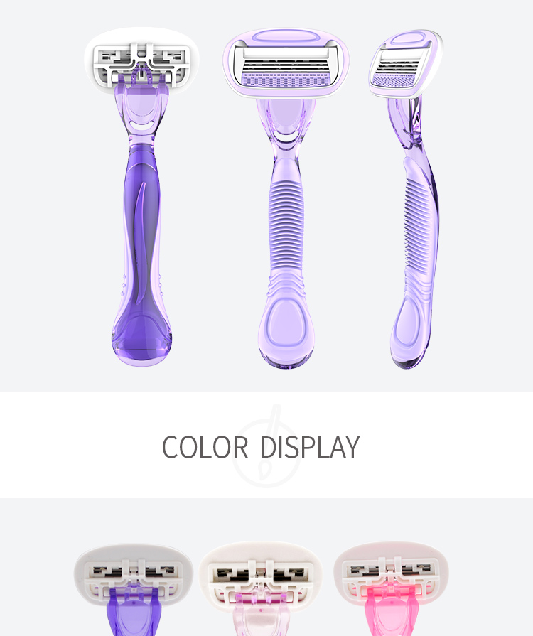 Factory new design high quality comfortable Womens  shaving  Razor 4 blades lady razor
