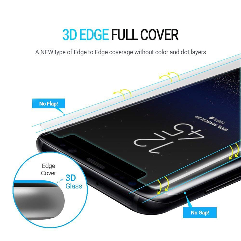 풀 붙 UV 빛 nano 액 강화 (gorilla glass) screen protector 대 한 samsung galaxy 주 9 S9 S8/S8 Plus /Note8