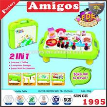 Children 2 in 1 toy kitchen set suitcase for Christmas gift