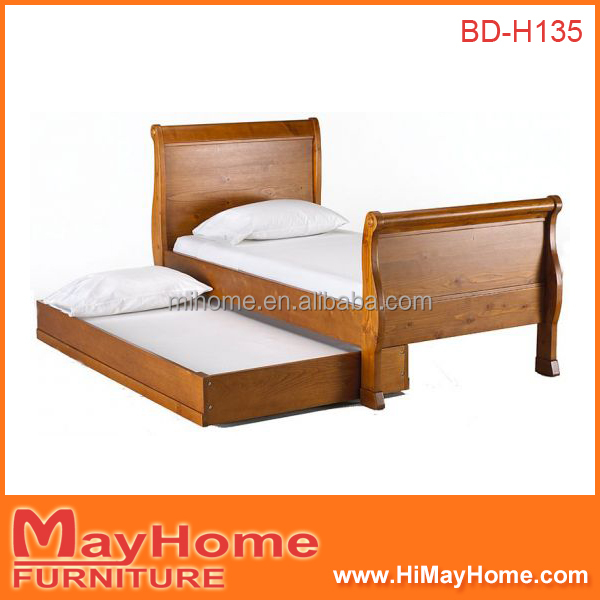 Franch Style Sleight Legs Single Bed Frame Pull Out Bed Double