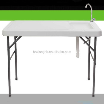 Camping Table With Sink Camp Cooking Fish Cleaning Outdoor