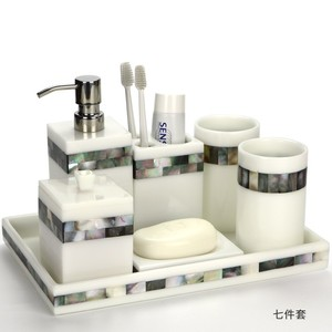Luxury Mother of Pearl 100% White Resin 5 Star Hotel Amenities Bathroom Set
