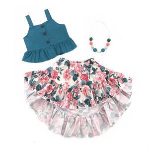 RTS summer floral girls clothing sets boutique kids apparel ruffle baby clothes