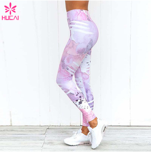 Sublimation printing yoga wear high-waist women polyester spandex the watercolor pro stretchy fabric and comfortable leggings