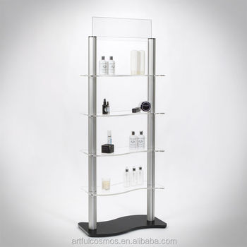 Exhibition Stand With Shelves Metal Free Standing Display Unit Acrylic Shelving Units Rotating Counter