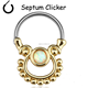 SEPTUM CLICKER TRIBAL GOLD OPAL NOSE EAR CARTILAGE TRAGUS BARBELL RING 16g