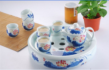 high quality chinese blue and white ceramic tea sets with tray and narcissus floral pattern