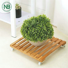 12 Inch bamboe planter lattenbodem rolling <span class=keywords><strong>plant</strong></span> stand caddy met wielen
