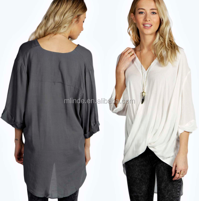 latest ladies tops women top new fashion long top WRAP FRONT 3/4 SLEEVE BLOUSE