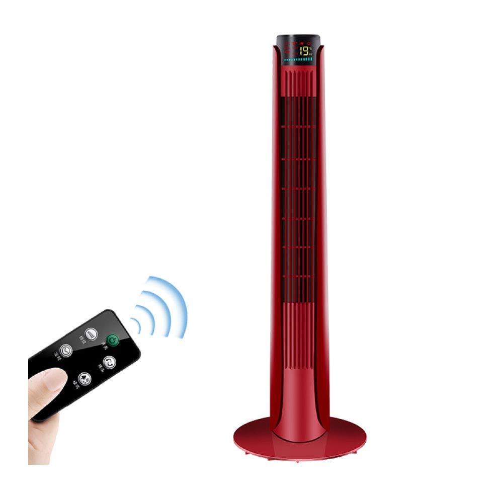 Electric Fan, Tower Fan, Home Vertical, Ultra-Quiet, Remote Control Leafless Fan, Mini, Tower Floor, Tower Fan,Red