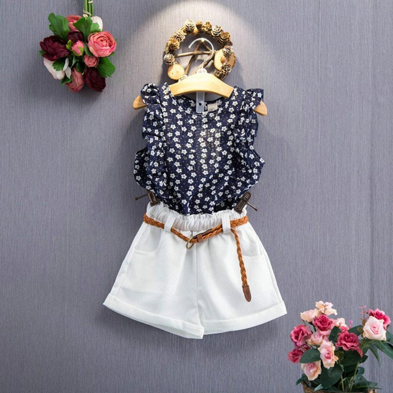 Toddler Baby Kids Girl Sleeveless T-shirt Top Short Skirt Outfits Clothes Set