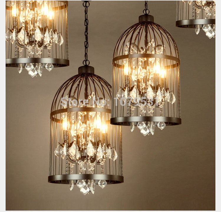 35-45cm-Nordic-Birdcage-Crystal-Pendant-Lights-Iron-Cage