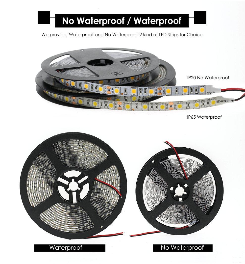 FEICAN LED Strip 5050 DC12V Flexible LED Light Black / White PCB No Waterproof Waterproof 60 LED/m 5M