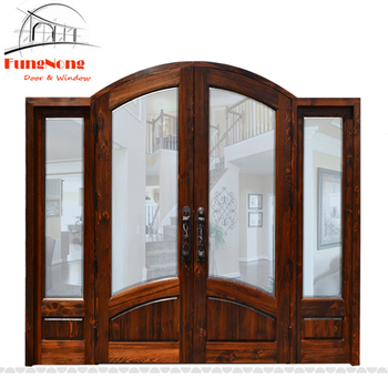 FD0019-Alibaba Trade Assurance Newest Models Solid Villa Main Entrance Wood Glass Door Design