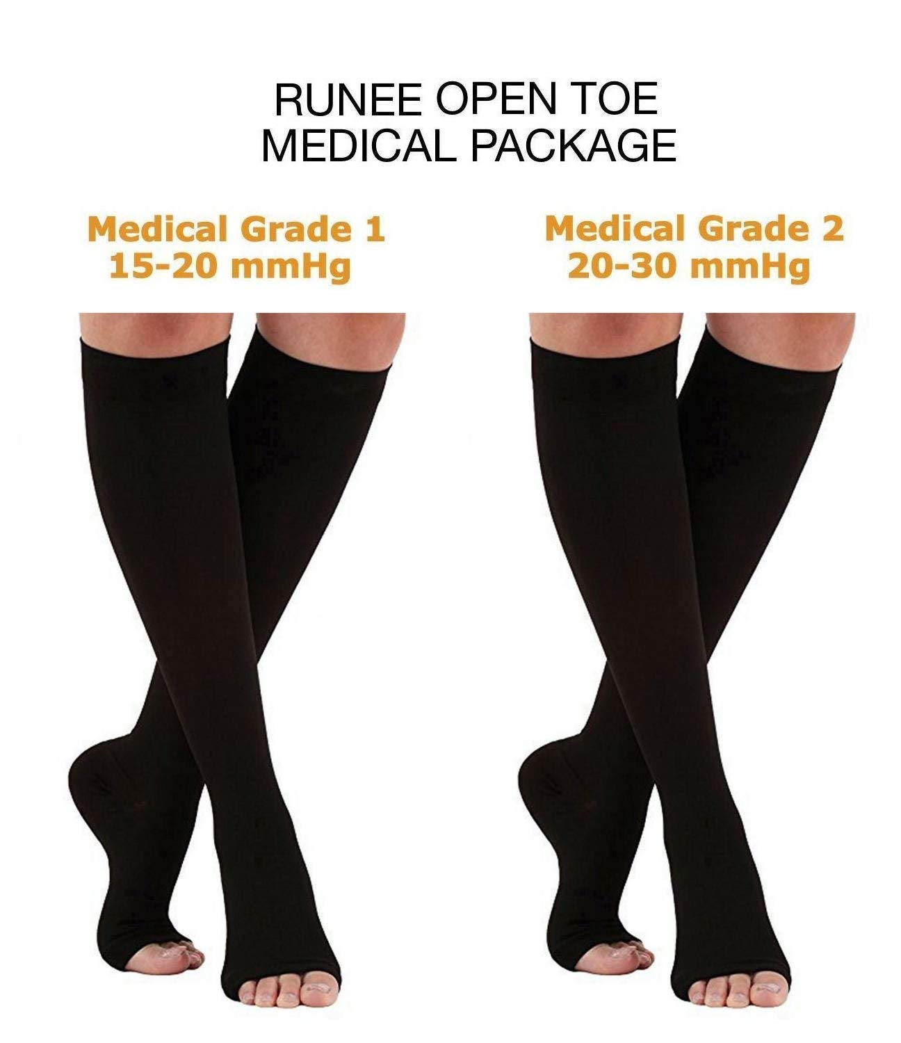 4260d3d4a6569f Get Quotations · Runee Open Toe Medical Package - Grade One And Grade Two  Compression Sock Knee High Hosiery