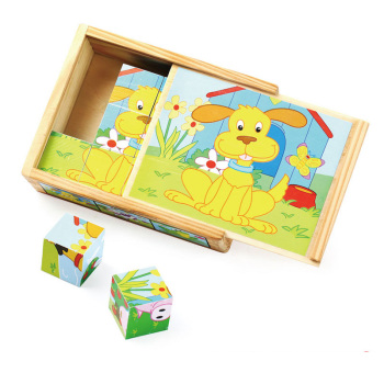 wood Pets Cube puzzles with wood box