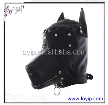 Adult Sex Toy Faux Leather PU Slave Horse Head , Face Mask Bondage Restraint