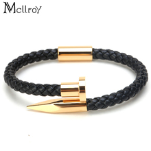 Mcllroy 2017 fashion stainless steel bangles Jewelry genuine leather nail bracelets for men