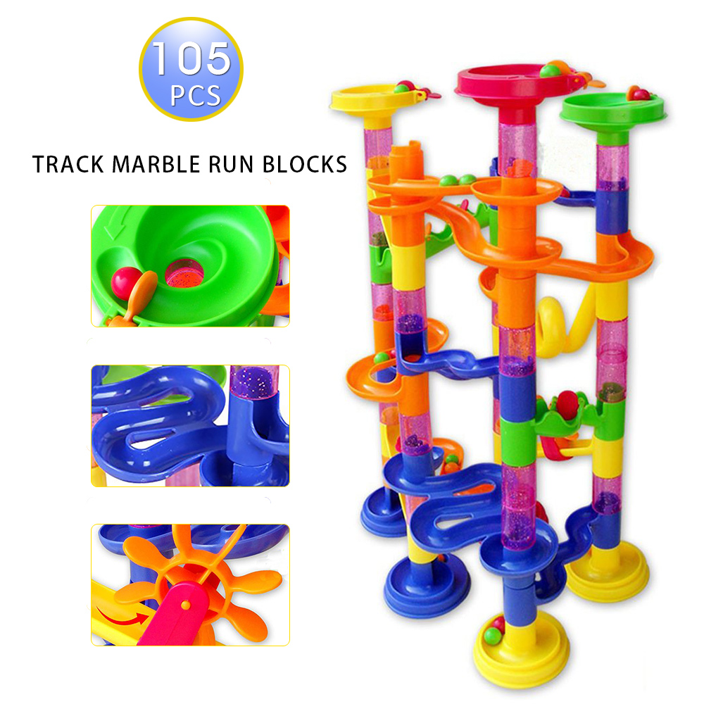 Taotown s 105pcs DIY Construction Marble Race Run Maze Balls Track plastic Building Blocks toys magformers