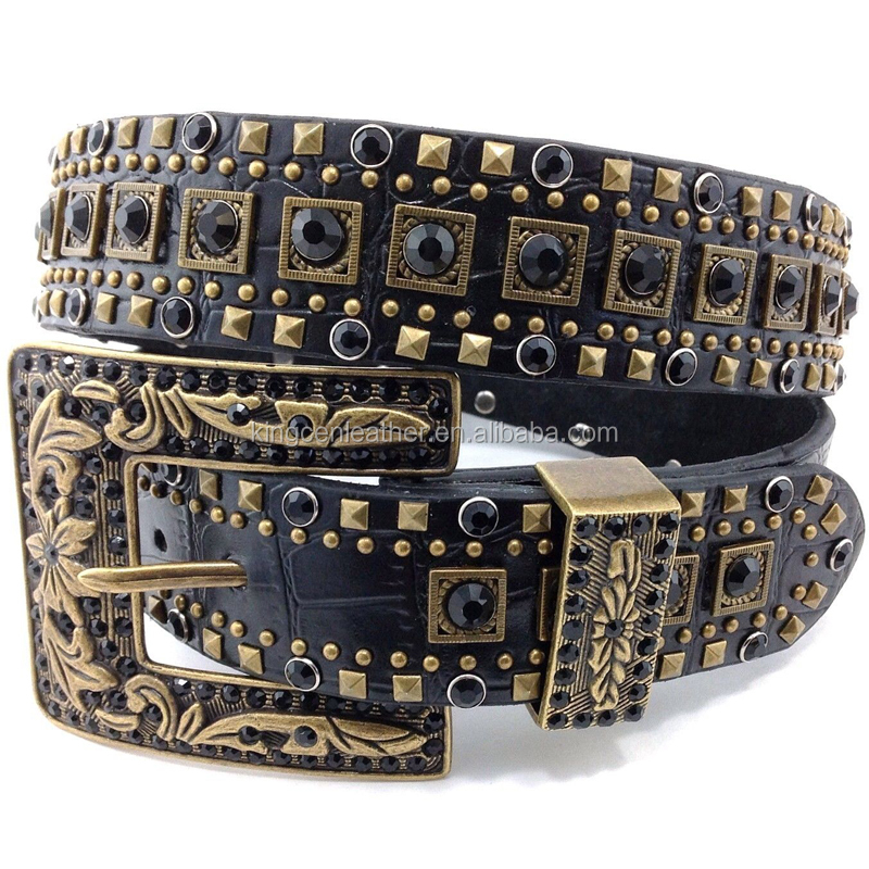 Black Croc Skin Leather Rhinestone Concho Old Gold Vintage Buckle Western Studded Belts Straps