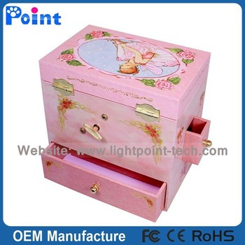 Beautiful Ornament Box Pink Jewelry Box Music Box With A Dancing