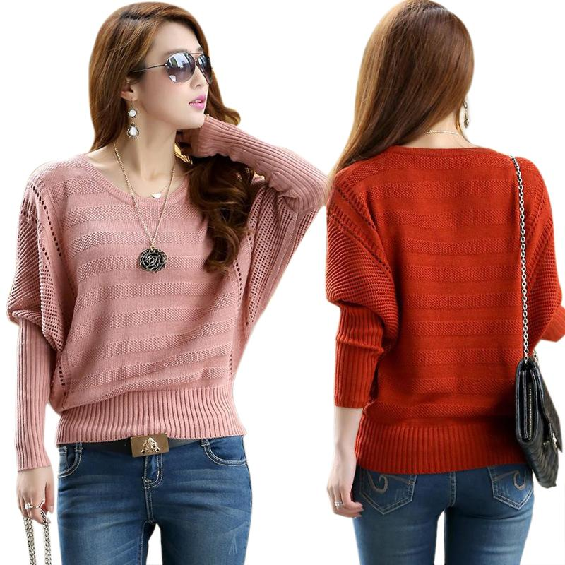 New Fashion Women Solid Hollow Bat Loose Outerwear Round Neck Long Sleeved Pullover Sweater LY137