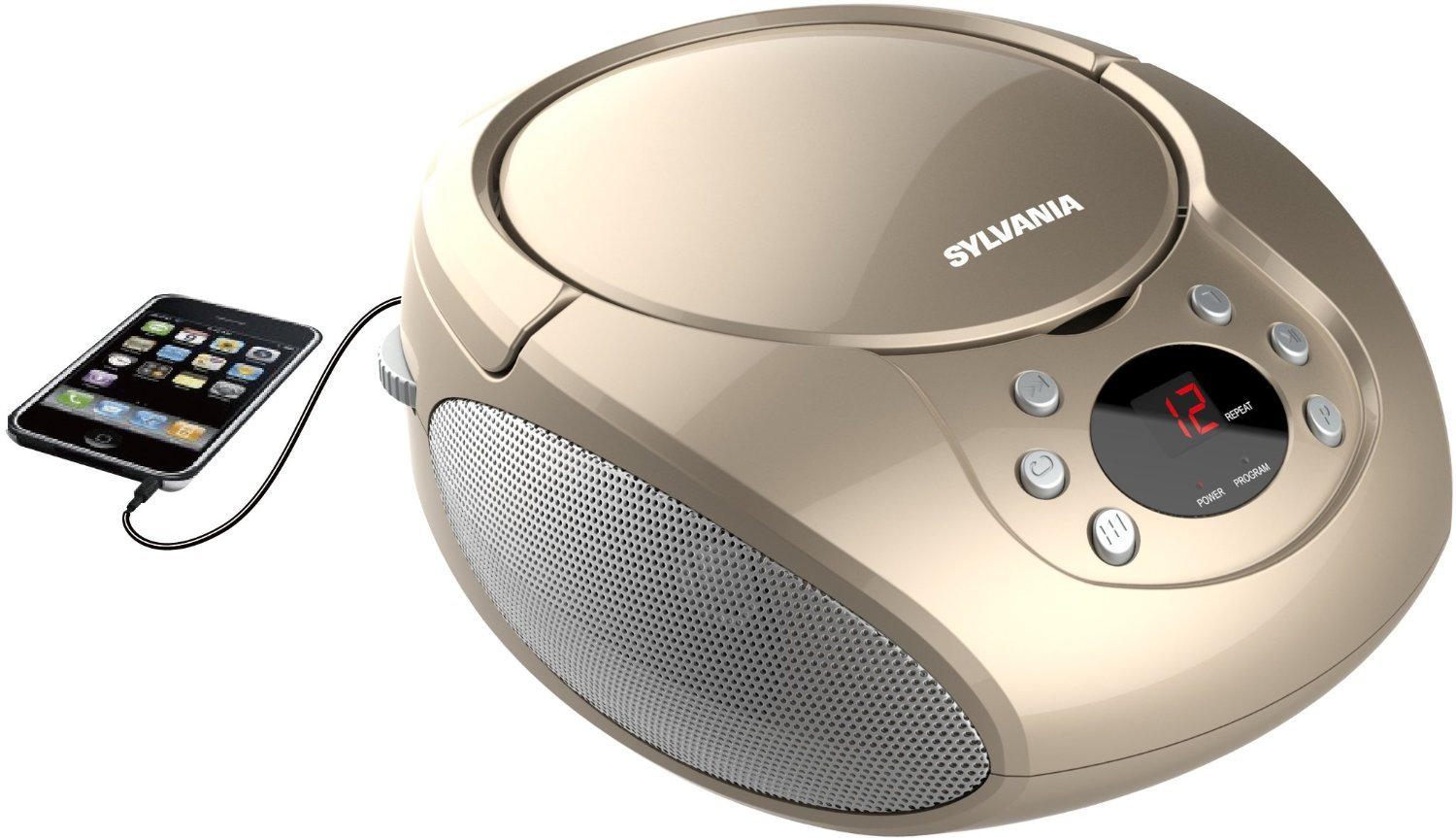 Sylvania Portable Cd Player & AM/FM Radio Tuner Mega Bass Reflex Boombox Sound System Plus 6ft Aux Cable to Connect Any Ipod, Iphone or Mp3 Digital Audio Player